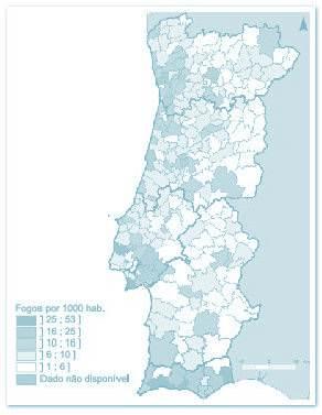 fig 1. Fogos concluídos de construções novas para habitação por 1000 habitantes, por concelho, 2001. Instituto Nacional de Estatística, dados 2001