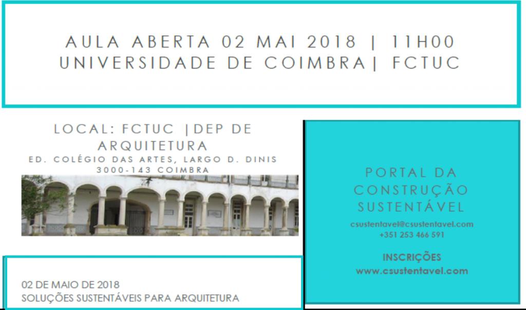 AULA ABERTA | 02 MAIO | UNIVERSIDADE DE COIMBRA
