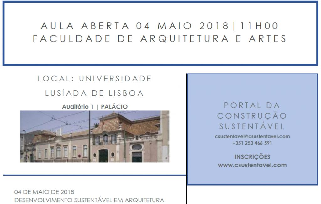 AULA ABERTA | 04 MAIO | FACULDADE DE ARQUITECTURA E ARTES DA UNIVERSIDADE LUSÍADA